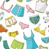 foto of string bikini  - Female And Male Underwear Doodle Seamless Pattern - JPG