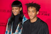 LOS ANGELES, CA - NOVEMBER 18: Actors Jaden Smith and Willow Smith arrive at the premiere of The Hun