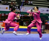 KUALA LUMPUR - NOV 05: Members of Australia's dalian team performs a fight scene in the Women's Dual
