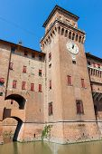 image of ferrara  - Clock on Estense Castle - JPG
