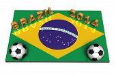 image of creole  - soccer balls on the flag of Brazil for 2014 soccer world cup - JPG