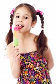 Girl with water ice cream