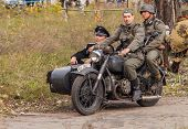 DNIPRODZERZHYNSK, UKRAINE - OCTOBER 26 : Member Historical reenactment in Nazi Germany uniform on Oc