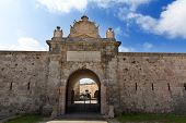 Menorca La Mola Castle fortress door in Mahon at Balearic islands