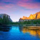 Yosemite Merced River el Capitan and Half Dome in California National Parks US