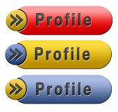 Profile personal information and bio about us button
