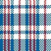 Chinese plastic woven checkered bag seamless pattern in blue red and white, vector