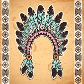 Tribal native American feather headband