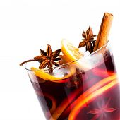 Hot Red Mulled Wine Isolated On White Background With Christmas Spices, Orange Slice, Anise And Cinn