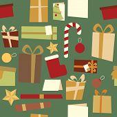 Christmas Decorations Seamless Pattern Green