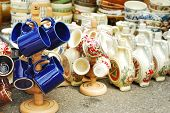 picture of pottery  - Traditional handmade ceramic pottery at the market