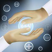 hands holding world medicine concept vector