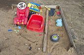 Old Playground Childrens Sandbox With Toys