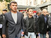 MOSCOW - AUG 31: Boris Nemtsov (L) russian statesman, one of the leaders of opposition during rally