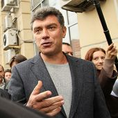 MOSCOW - AUG 31: Boris Nemtsov russian statesman, one of the leaders of opposition during rally to support the 31st article of the Constitution - right to peaceful assemblies, Aug 31, 2010 in Moscow.