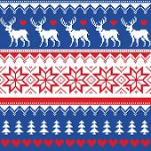 Nordic seamless pattern with deer and christmas trees