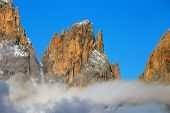 Winter alpine landscape in  the Dolomites, Sella Group, Italy, Europe
