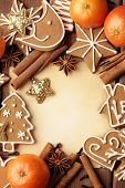 Blank note for recipes of christmas cookies or christmas greeting card. christmas frame background
