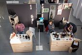 Top View Of People And Stalls At Golosaria 2013 In Milan, Italy