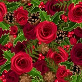 Christmas seamless background with roses and holly. Vector illustration.