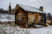 foto of laplander  - A traditional Sami hut in winter in Finnish Lapland - JPG