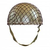 Retro military helmet ( paratrooper's helmet) on a white background.
