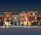 stock photo of snowy-road  - Christmas town illustration - JPG