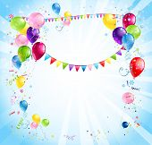 Bright holiday background with balloons and flags. Place for text.