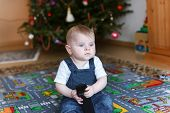 Little Baby Boy And Christmas Tree
