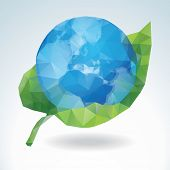 Vector Earth with green leaf - polygonal art