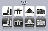 Landmarks of Berlin. Set of monochrome icons. Editable vector illustration.