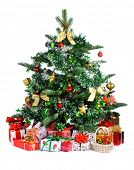Christmas tree with heap of gifts isolated on white background