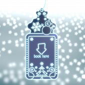 Magic Christmas Label With Book Here Sign