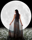 Fairy in front of a Moon. Elements of this image furnished by NASA.