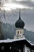 Church In Pill / Tyrol With Snow-covered Roofs
