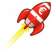 picture of missles  - Euro currency symbol on red retro rocket ship illustration good for use as a button in print materials or in advertisements - JPG