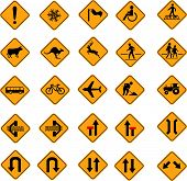 stock photo of slippery-roads  - warning road signs - JPG