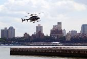 Helicopter an the Downtown Manhattan heliport
