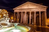 Pantheon Rome, by night