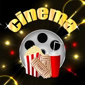 Cinema Background.items To A Movie Theater In The Blazing Neon Background.banner For Cinema.vector