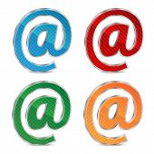 E-mail Icon Set Isolated On A White Background.colored Icons Email.signs For Website Design.vector