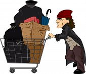 Illustration of a Homeless Man Pushing a Cart Filled with Recyclable Materials