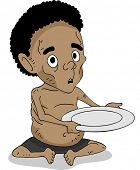 Illustration of a Malnourished African Kid Holding Out an Empty Plate