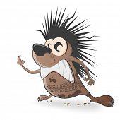 cartoon hedgehog with tire track