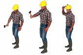Multiple shot of handyman with hammer