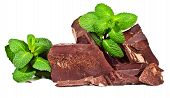 Heap Of Delicious Black Chocolate With Mint