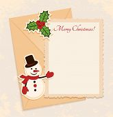 Congratulation Gold Retro Background With Snowman, Holly And Letter. You Can Use Frame For Your Text