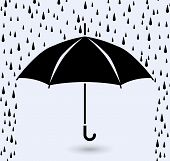 stock photo of rainy season  - vector symbol of umbrella protection from rain drops - JPG