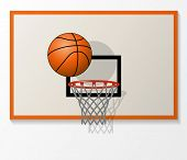 Vector Basketball Net And Backboard Set, Ball Dunk In The Hoop