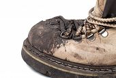 Old Dirty Trekking Boot. Close-up View.